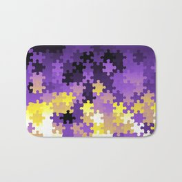 Nonbinary Pride Puzzle Pieces Pattern Bath Mat