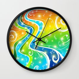 Ornamental Abstract Bright Colors Background Wall Clock