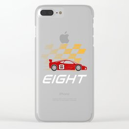 8th Birthday Racing Car Gift 8 Years Race Driver Clear iPhone Case