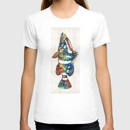 Colorful Grouper 2 Art Fish by Sharon Cummings T-shirt