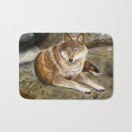 Wolf by the Riverbed Bath Mat