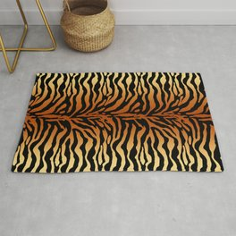 Tiger Stripes Animal Print in Rust Brown, Amber, Black and Tan Rug
