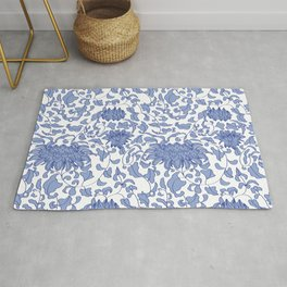 Chinoiserie Vines in Delft Blue + White Rug