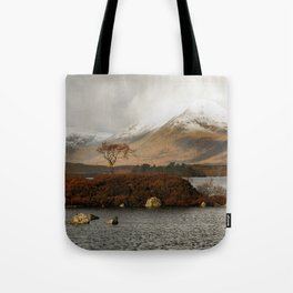 Lone Tree and Dusting of Snow in Mountains of Scotland Tote Bag