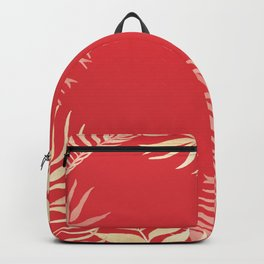 Tropical Leaves Poppy Red Rainforest Palm Beach Cottage Decor Backpack