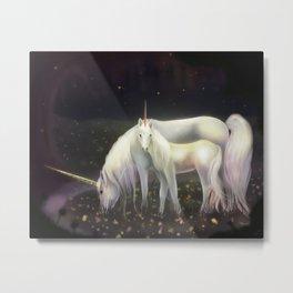 Unicorn + Babycorn Metal Print