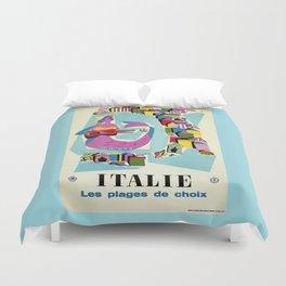 Retro naive cubist Italian beaches, mermaid travel ad Duvet Cover