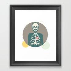 Skeletons have hearts too. Framed Art Print