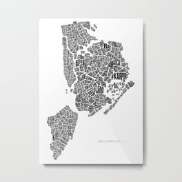 New York City, White Metal Print