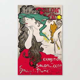 Vintage Alphonse Mucha Poster Girl Canvas Print