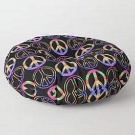 Rainbow Glitter Peace Sign | Symbol Pattern Floor Pillow