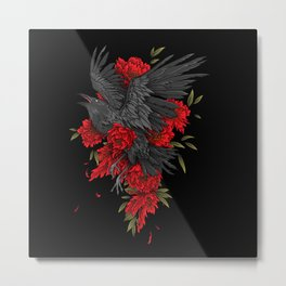 Raven with flowers Metal Print