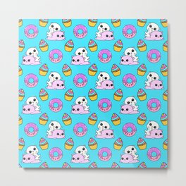 Cute funny Kawaii chibi pink little playful baby kittens, happy orange sweet donuts and adorable colourful yummy cupcakes blue pattern design. Nursery decor ideas. Metal Print