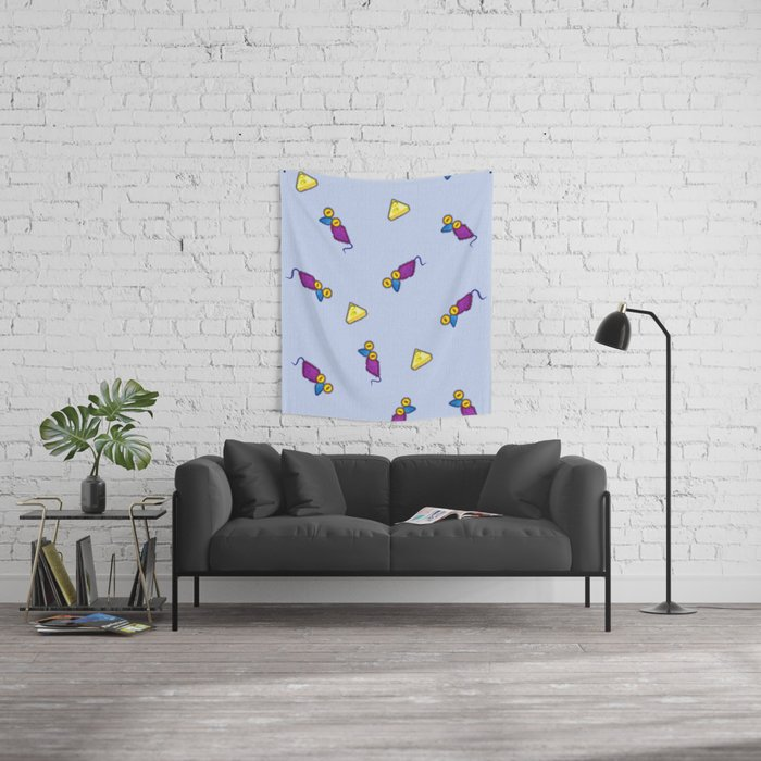 Colorful and positive vintage mouses and cheese on canvas print Wall Tapestry
