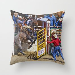 The Release - Rodeo Bronco Riding Throw Pillow