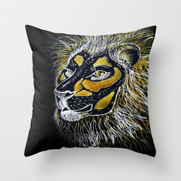 leo king animals savannah Throw Pillow