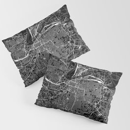 Kansas City Black Map Pillow Sham