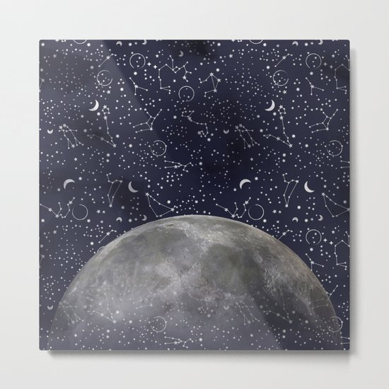 Mystic Galaxy Constellation Moon Stars and Cosmic Space White Metal Print