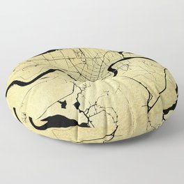 New Orleans Black and Gold Map Floor Pillow