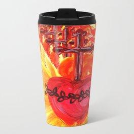 Sacred Heart, red Metal Travel Mug