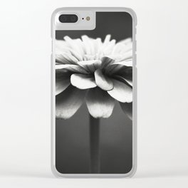 Black and White Flower Photography, Zinnia Floral Photograph, Neutral Nature Photo, Modern Botanical Clear iPhone Case