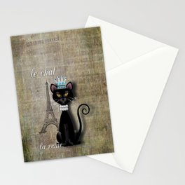 Le Chat, La Reine - The Cat, The Queen Stationery Cards