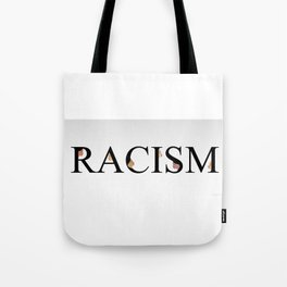 Word racism showing unity amongst faces of women of different skin color Tote Bag