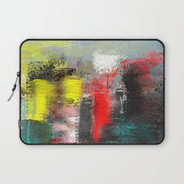 City in Red, Yellow and Aqua Abstract Laptop Sleeve