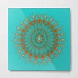 Hand-Drawn Bohemian Mandala Turquoise & Rust Metal Print