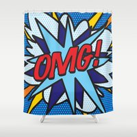 comic book Shower Curtains featuring Comic Book OMG! by Thisisnotme