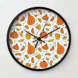 Rustic Country Autumn Fall Pumpkin Wall Clock