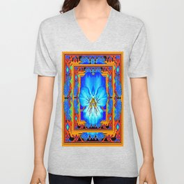 Orange Southwest Blue pansy Patterned Art Design Unisex V-Neck