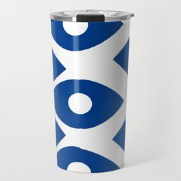 Blue and White Pattern Fish Eye Design Travel Mug