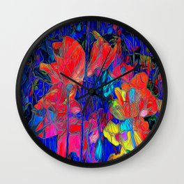 Stained Floral Wall Clock