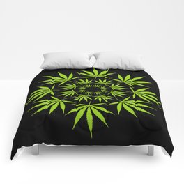 Cannabis Leaf Circle (Black) Comforters
