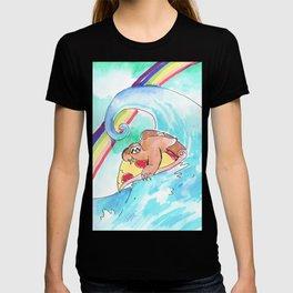 surfing sloth pizza rainbow T-shirt