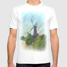 At the mills White MEDIUM Mens Fitted Tee