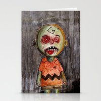 charlie brown Stationery Cards featuring You're a zombie Charlie Brown by byron rempel