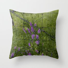 Purple Alfalfa flowers Throw Pillow