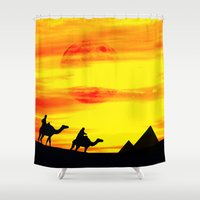 egyptian Shower Curtains featuring Egyptian supermoon by pinopics