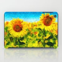 sunflowers iPad Cases featuring sunflowers by KrisLeov
