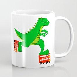 dinosaur riding roller skates. Coffee Mug