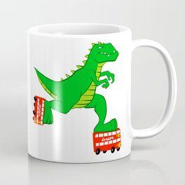 dinosaur riding roller skates. Coffee Mug