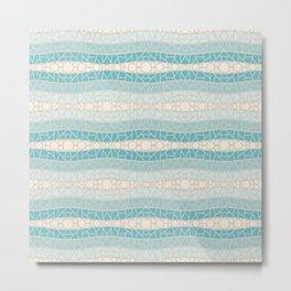 Ocean Blues 2 Mosaic Wavy Stripes Metal Print