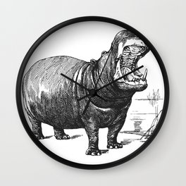 Hippopotamus black and white retro drawing Wall Clock