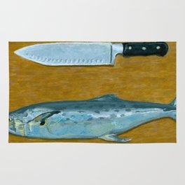 Mackerel on Cutting Board Rug