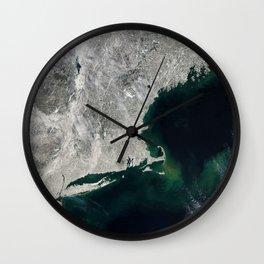Winter Aerial View of New York, Long Island, Rhode Island, Cape Cod & New England Wall Clock