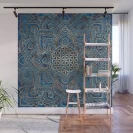 Flower of Life in Lotus Mandala - Blue Marble and Gold Wall Mural