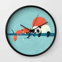 pandas Wall Clocks featuring Pandas by Jay Fleck