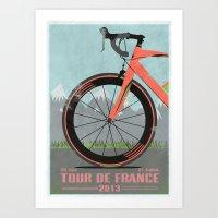tour de france Art Prints featuring Tour De France Bike by Wyatt Design